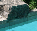 Green slate; Wiarton stone coping; White marbelite