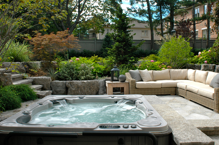 Back Yard Hot Tub Landscaping