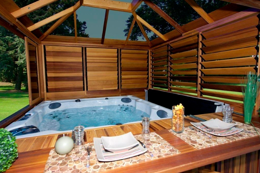 Hot tub gazebo plans for Spa deck design