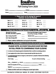 Fall Booking Form